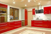 красная кухня с фасадами каленое стекло фото 7