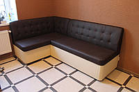 Тёмно-коричневый угловой диван для кухни под заказ, фото 1
