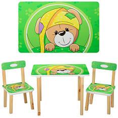 Столик 501-14  деревянный, 60-40см, 2 стульчика, салатовая собака