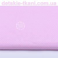 Ткань хлопковая с белыми точками 2 мм на розовом фоне (№761).