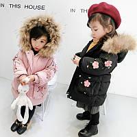 Пальто детское зимнее Цветы