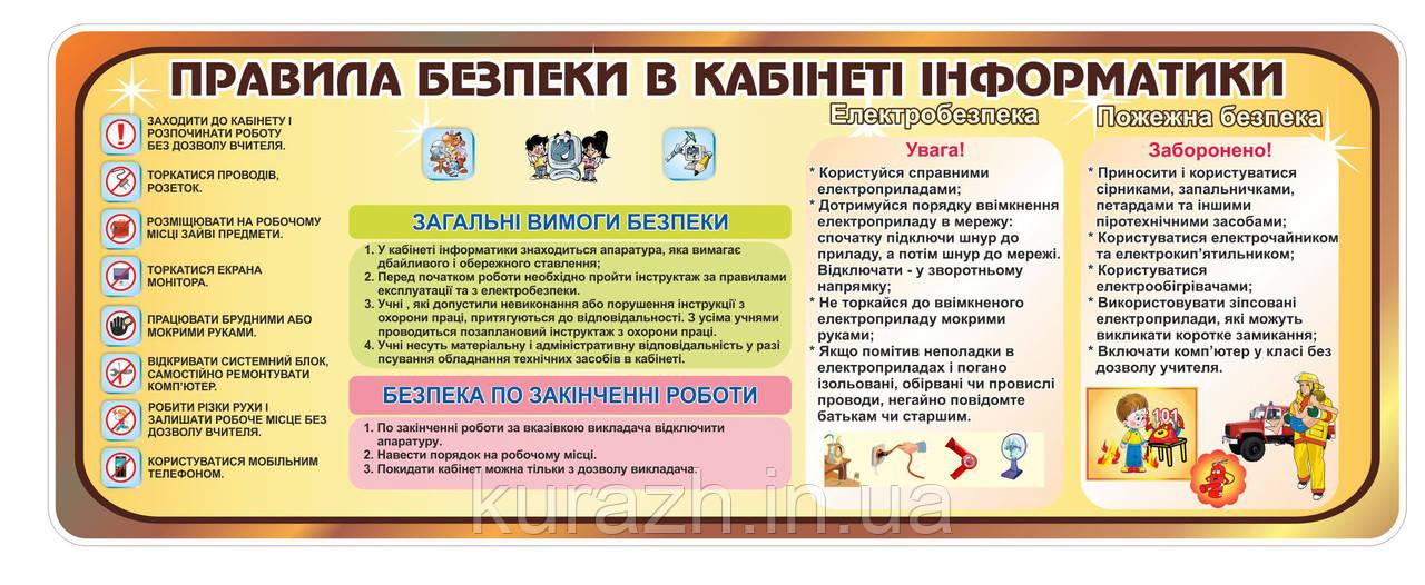 Стенд «Правила безпеки в кабінеті інформатики«