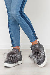Женские зимние ботинки  шерсть, нат. меховые помпоны из чернобурки