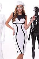 Облегающее женское платье, бело-чёрное, дайвинг, размер 46
