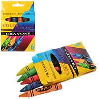 Мелки пастельные 6цветов, в кор-ке, 6PC, 8,5-12,5-1,5см