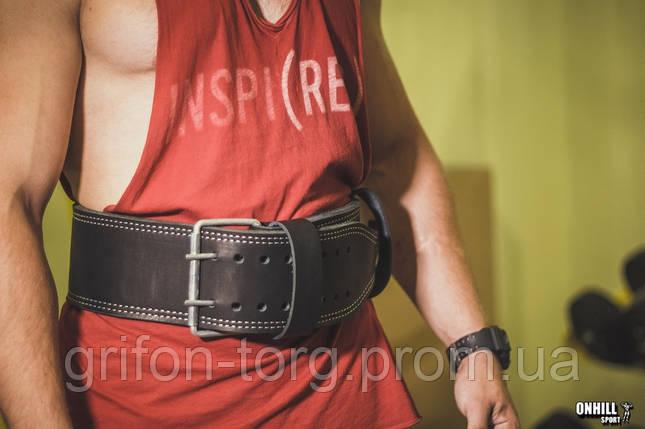 Пояс для пауэрлифтинга кожаный 2-хслойный, размер XL  (88-106 см), фото 2