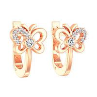 Золотые серьги Нежные бабочки