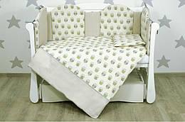 """Детский постельный комплект Veres """"Owls beige-green"""" 6 единиц"""