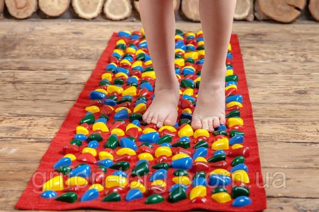 Массажный коврик с цветными камнями 150 х 40 см, фото 2