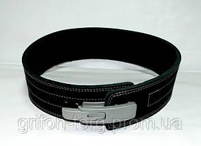 Пояс для пауэрлифтинга кожаный 3-хслойный с карабином р-р XХL  (90-115 см) , фото 3