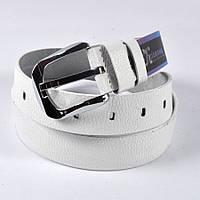 Стильный кожаный ремень - белого цвета с белыми вставками