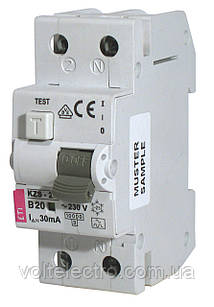 Диффер. автоматический выключатель KZS-R 2p 6A C
