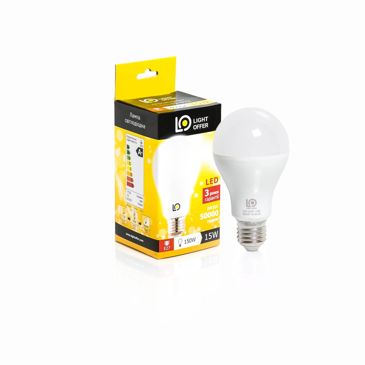 Светодиодная лампа LightOffer A68 15W E27 4000K