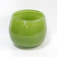 Вазочка зеленая, литое стекло