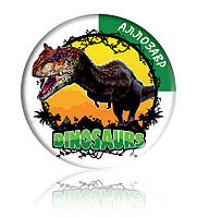 "Закатної круглий значок - ""Аллозавр"""