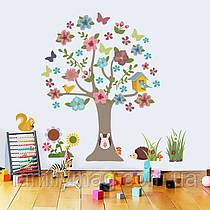 """Наклейка """"Цветущее дерево + бабочки, ежики, птички"""", 92х95 см."""