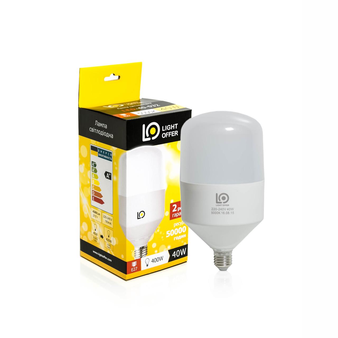 Светодиодная лампа LightOffer H115 40W E27 5000K 4300Lm