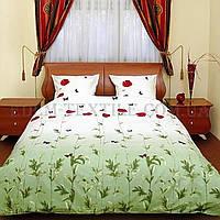 Постельное бельё Теп семейное бязь Маки зелёные с бабочками 533, Зеленый