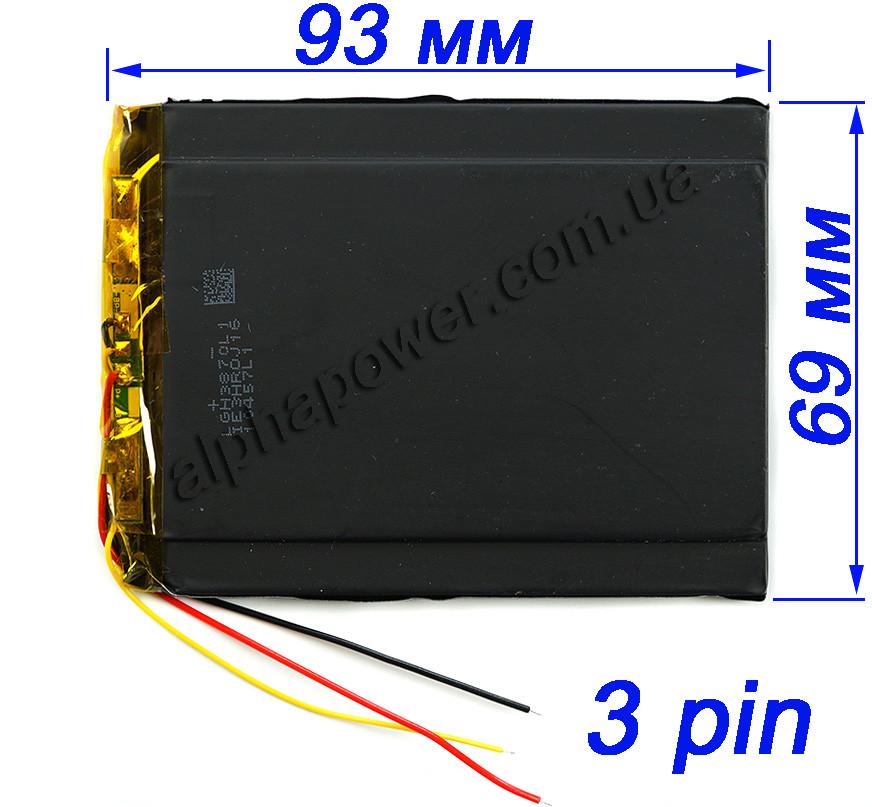 Аккумулятор 3000mAh 356993 для планшетов и электронных книг с выходом на 3 контакта (3 pin)