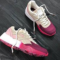 Кроссовки в стиле Puma Trinomic - Sakura, бежево - бордовые, материал -  замша, 64964c05c7b