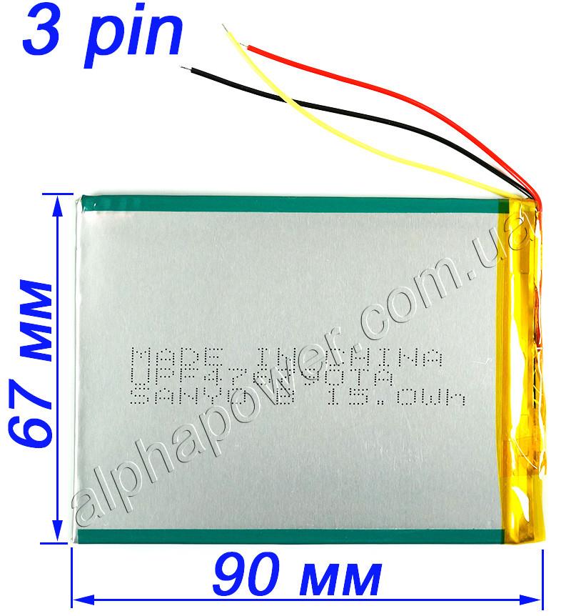 Аккумулятор 4050мАч 446690 для планшетов и электронных книг с выходом на 3 контакта (3 pin)