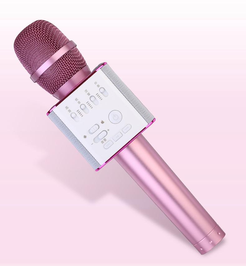 Беспроводной микрофон для караоке Tuxun Q9 розовый с колонкой+ чехол