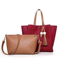 Женская сумка с кисточками большая красная + клатч из экокожи опт, фото 1
