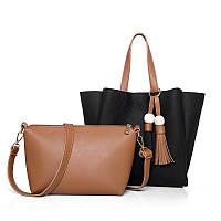 Женская сумка с кисточками большая черная + клатч из экокожи опт, фото 1