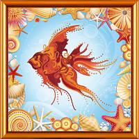 Схема для вышивки бисером Золотая рыбка