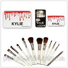 Набір кистей для макіяжу Kylie 12 штук в бляшаному футлярі (репліка)