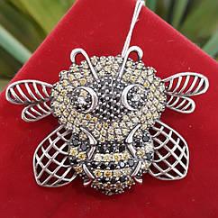 Серебряная брошь Шмель - Брошь Пчела серебро 925