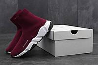 Кроссовки женские Balenciaga Speed Trainer Knit Runner High Sock Bordo/White Реплика