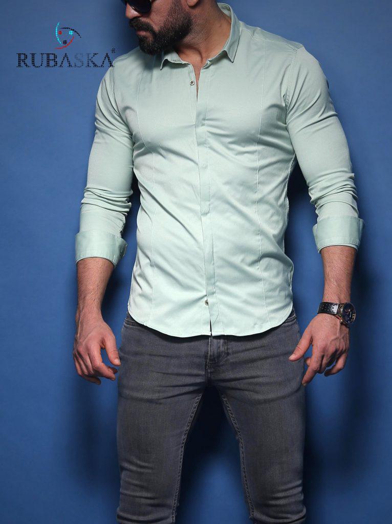 Мужская серая приталенная рубашка