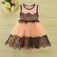 Модное платье для девочки розовое с кружевом р.100-110 см