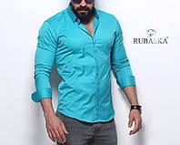 Мужская бирюзовая приталенная рубашка