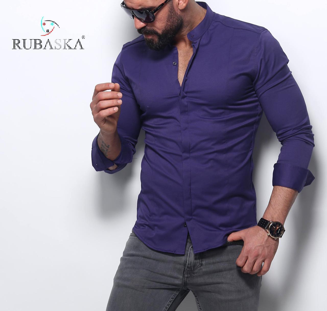 Чоловіча фіолетова сорочка приталені