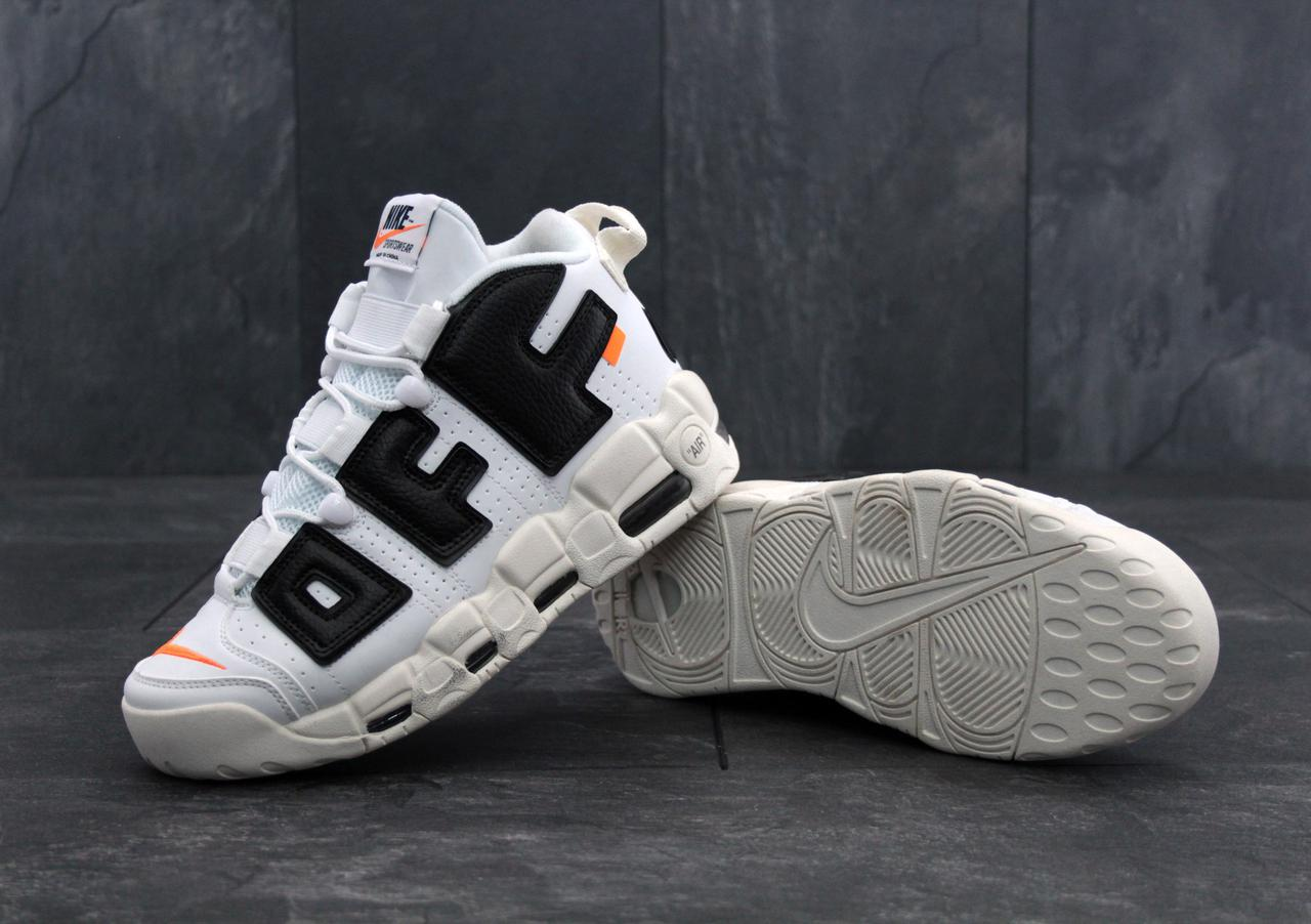 Мужские кроссовки OFF-WHITE x Nike Air More Uptempo Black White ... 5f7fb77d3bc