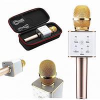 Беспроводной микрофон караоке bluetooth Q7 с чехлом золотой