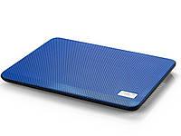 """Подставка для ноутбука до 14"""" DeepCool N17, Blue, 14 см вентилятор (21 dB, 1000 rpm), алюминиевая сетка, 330х250х25 мм, 465 г"""