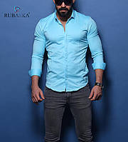 Чоловіча блакитна сорочка приталені