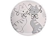"""Блюдо 28 см., керамическое белое """"Коты"""" Lefard"""