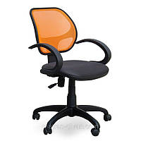Кресло Байт /АМФ-4 сиденье Сетка черная/спинка Сетка оранжевая