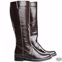 Женские кожаные коричневые сапоги без каблука Villomi 2517-04