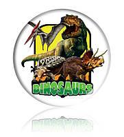 """Закатной круглый значок - """"Динозавры"""" - Арт 5"""