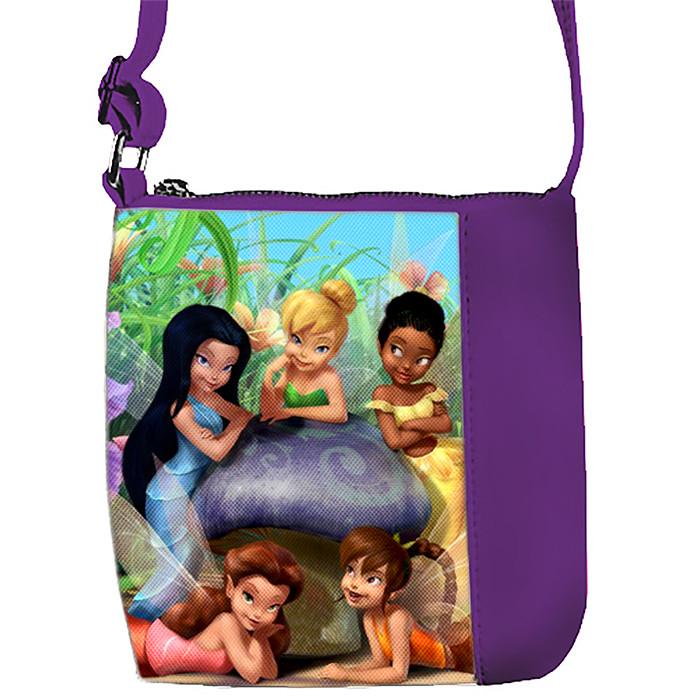 Фиолетовая сумка для девочки с принтом Феи