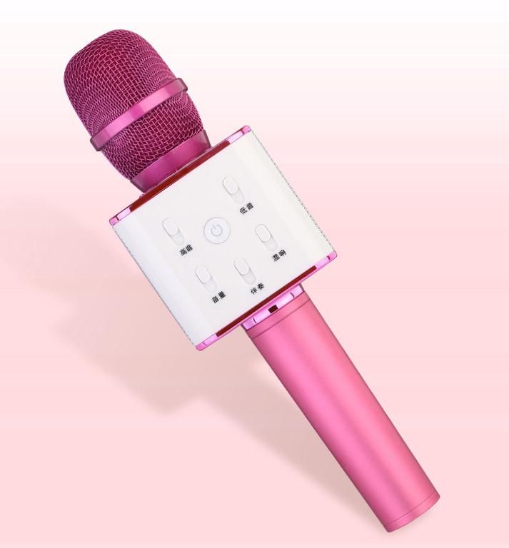 Бездротовий мікрофон караоке bluetooth Q7 з чохлом рожевий