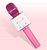 Бездротовий мікрофон караоке bluetooth Q7 з чохлом рожевий, фото 1