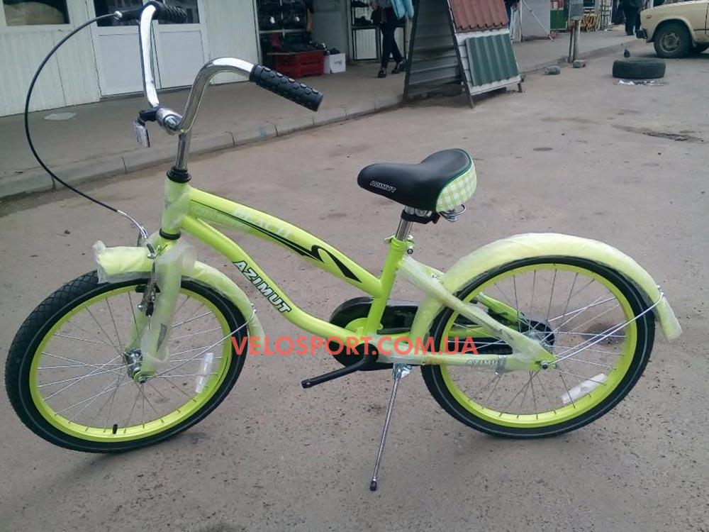 Детский велосипед Azimut Beach 20 дюймов салатовый