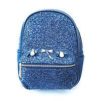 Синий, электрик кожаный рюкзак со стразами , casual