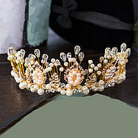 Золотистая диадема с  жемчугом, тиара, корона, высота 6 см.